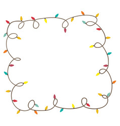 Color frame with extension cord lights christmas vector