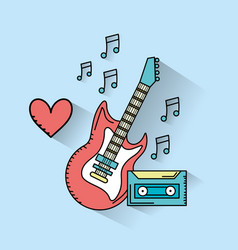 Electric guitar musical instruments and cassette vector