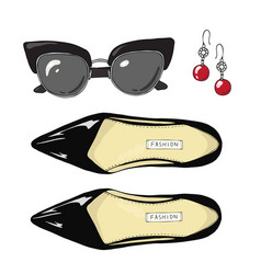 fashion women shoes with sunglasses and earrings vector image