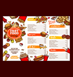 Fast food restaurant menu brochure template design vector