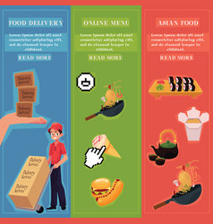 Food delivery online menu asian food ad vector