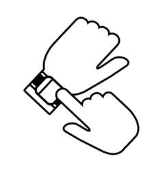 Hand wearing smart watch wearable vector
