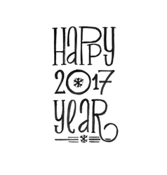 Happy New Year Retro Poster Black and vector image