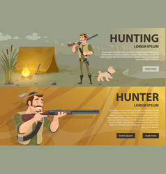 Hunting horizontal banners vector