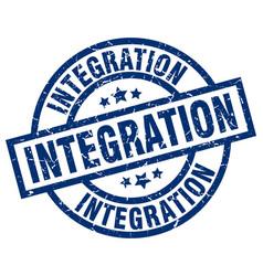 Integration blue round grunge stamp vector