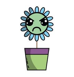 Kawaii beauty and angry flower plant vector