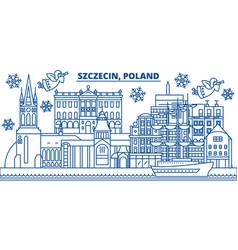 Poland szczecin winter city skyline merry vector