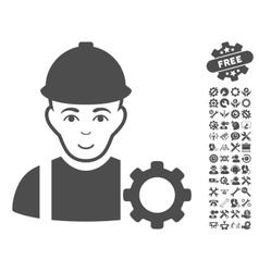 Repairman icon with tools bonus vector