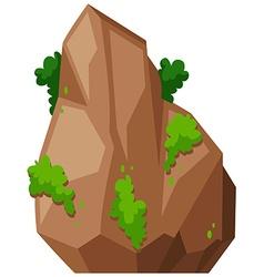 Rock with green bush vector