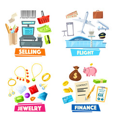 Selling jewelry finance and flight items vector