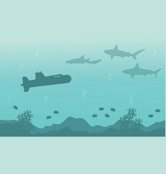 Silhouette of submarine and shark landscape on sea vector