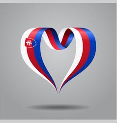 slovak flag heart-shaped ribbon vector image vector image