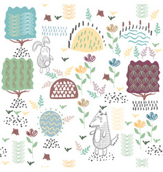 summer forest seamless pattern with cute animals vector image