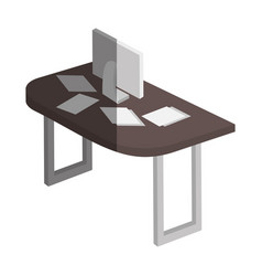 table wooden with computer isometric icon vector image
