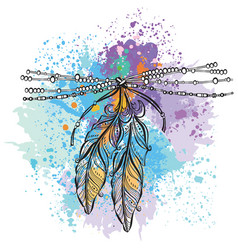 two feathers vector image vector image