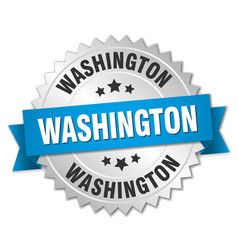 Washington round silver badge with blue ribbon vector