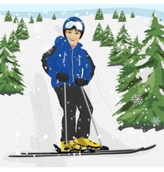 Young man skier standing on snowy ski slope vector