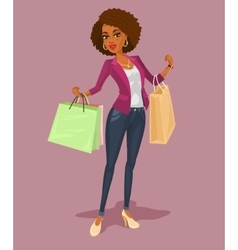 Smiling girl-shopper vector