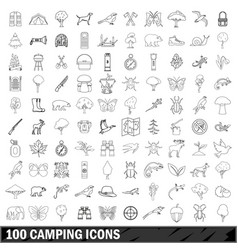 100 camping icons set outline style vector