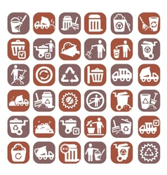 big color garbage icons vector image