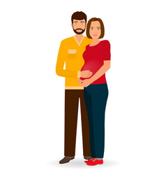 Happy pregnancy family couple of man and pregnant vector
