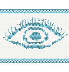 Knitted eye vector