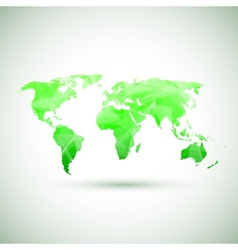 Low poly green world map vector image