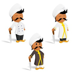 Set of cartoon indian cook chef with moustache vector