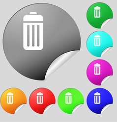 The trash icon sign set of eight multi colored vector