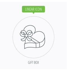 Love gift box icon heart with bow sign vector