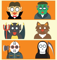 Cute halloween monsters flat cartoon vector