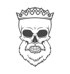 Bearded skull with crown design element dead king vector