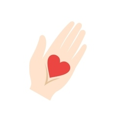 Heart in a hand flat icon vector