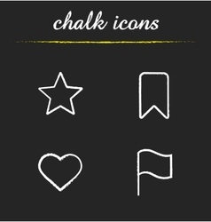Tags and marks chalk icons set vector