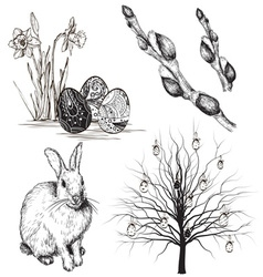 Hand Drawn Easter Icon Set vector image