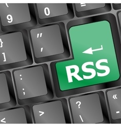 Rss button on keyboard close-up vector