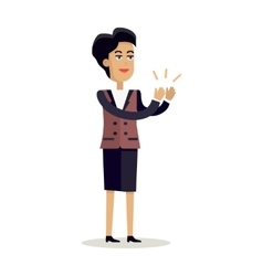 Business woman clapping hands with happy face vector