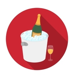 Champagne bottle in an ice bucket icon in flat vector image