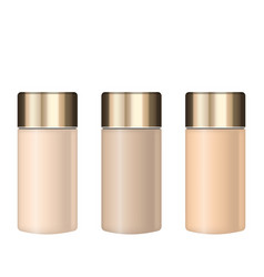 collection realistic tubes of foundations with vector image