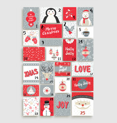 cute merry christmas advent calendar for holiday vector image