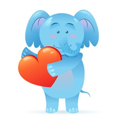 Cute toy Elephant pet isolated holding heart vector image vector image