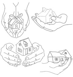 Drawn humans hands holding house vector