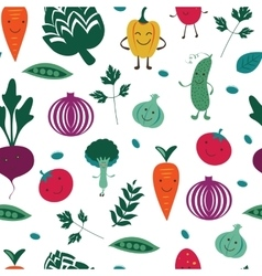 Fun vegetables pattern vector image