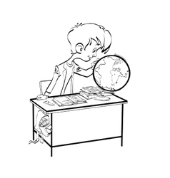 Geography Student boy looking globe vector image vector image