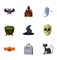 Halloween holiday icons set cartoon style vector