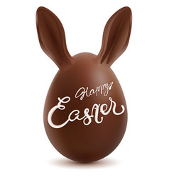 happy easter chocolate egg with rabbit ears vector image