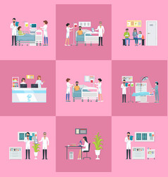 hospital activities on pink vector image vector image