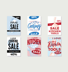 Kitchen utensils promotional posters vector