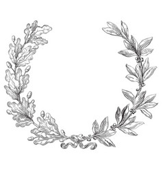 laurel and oak wreath vector image vector image