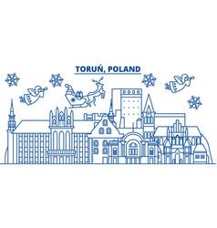 Poland torun winter city skyline merry christmas vector
